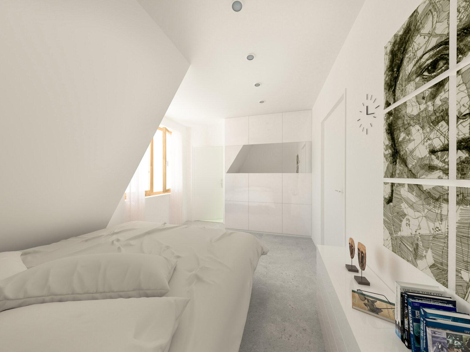 Weißes Schlafzimmer mit Schrank und Gemälde