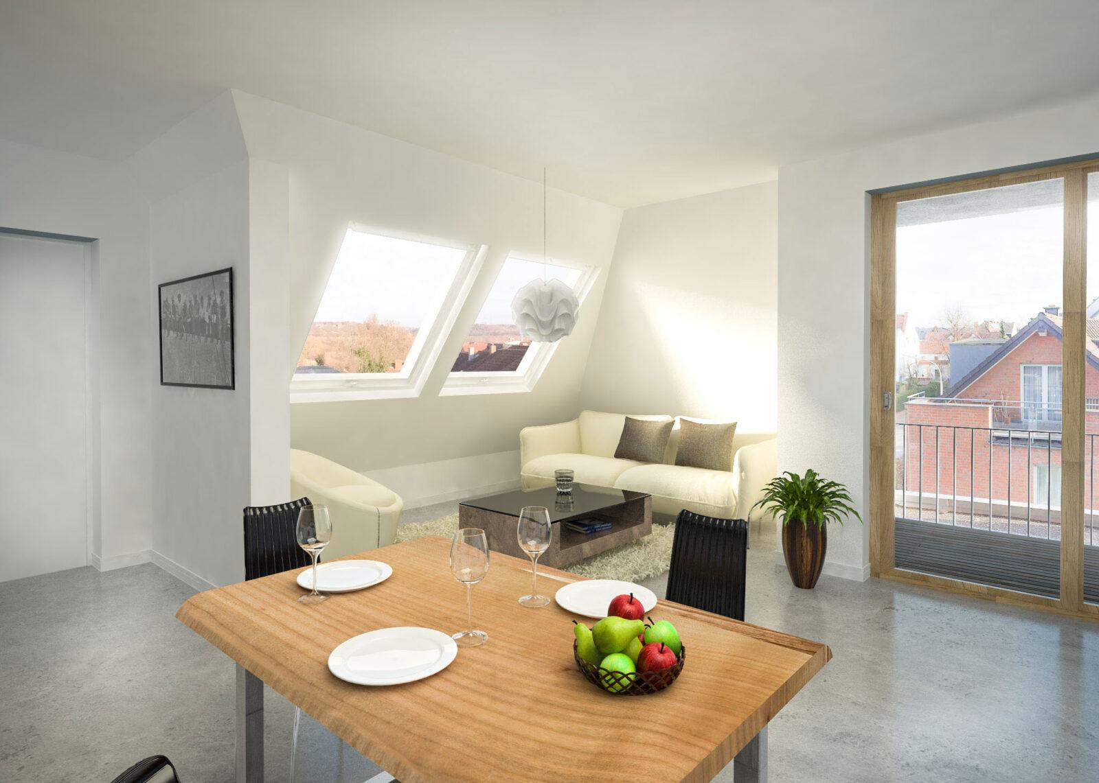 Küchentisch und Wohnzimmer
