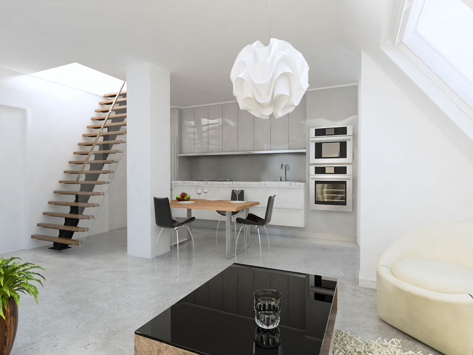 Wohnzimmer mit Küche und Treppe
