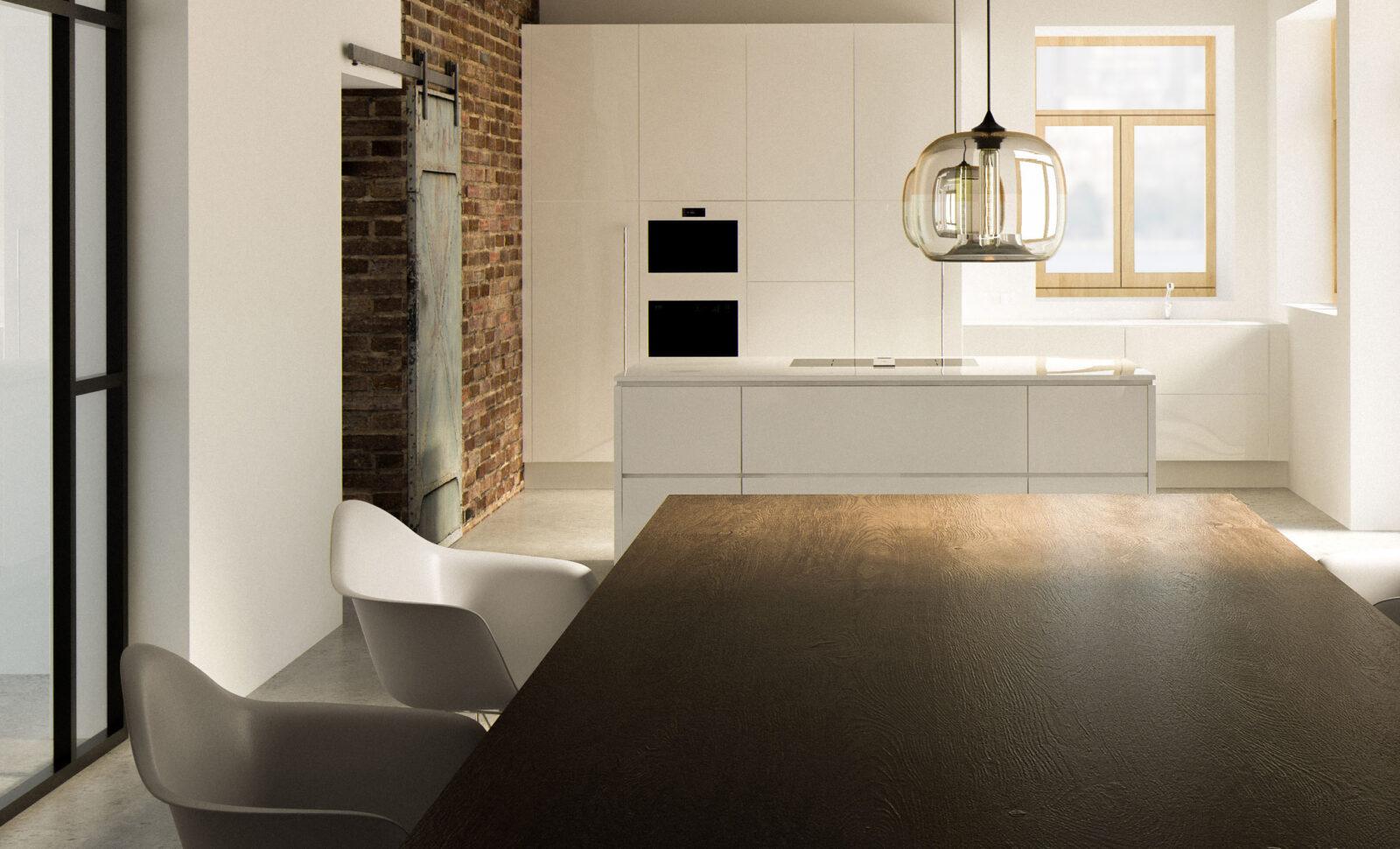 Weiße Küche mit Holztisch