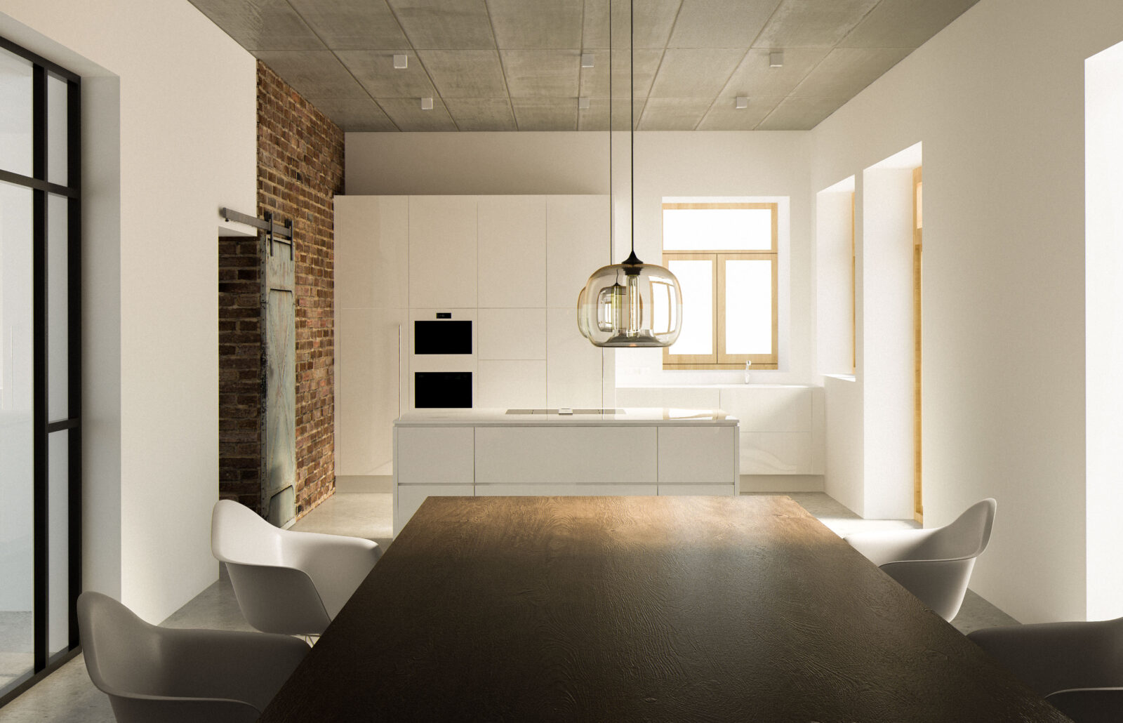 Küchentisch aus Holz mit Eames Vitra Stühlen und weißer Kücheninsel