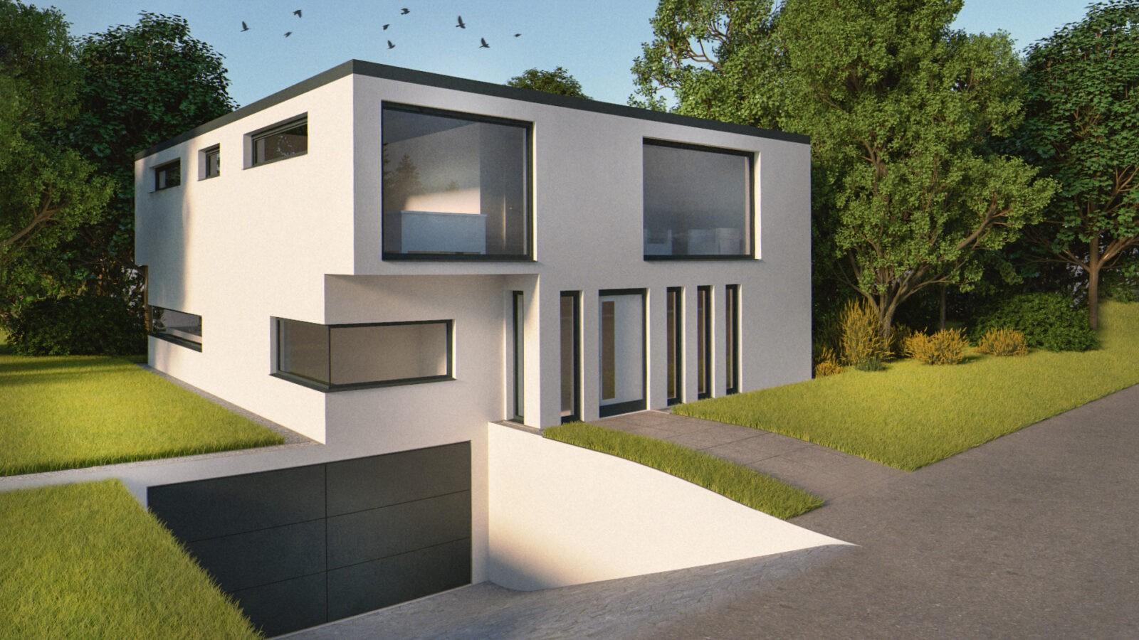 Minimalistisches Haus mit Garageneinfahrt in grüner Umgebung