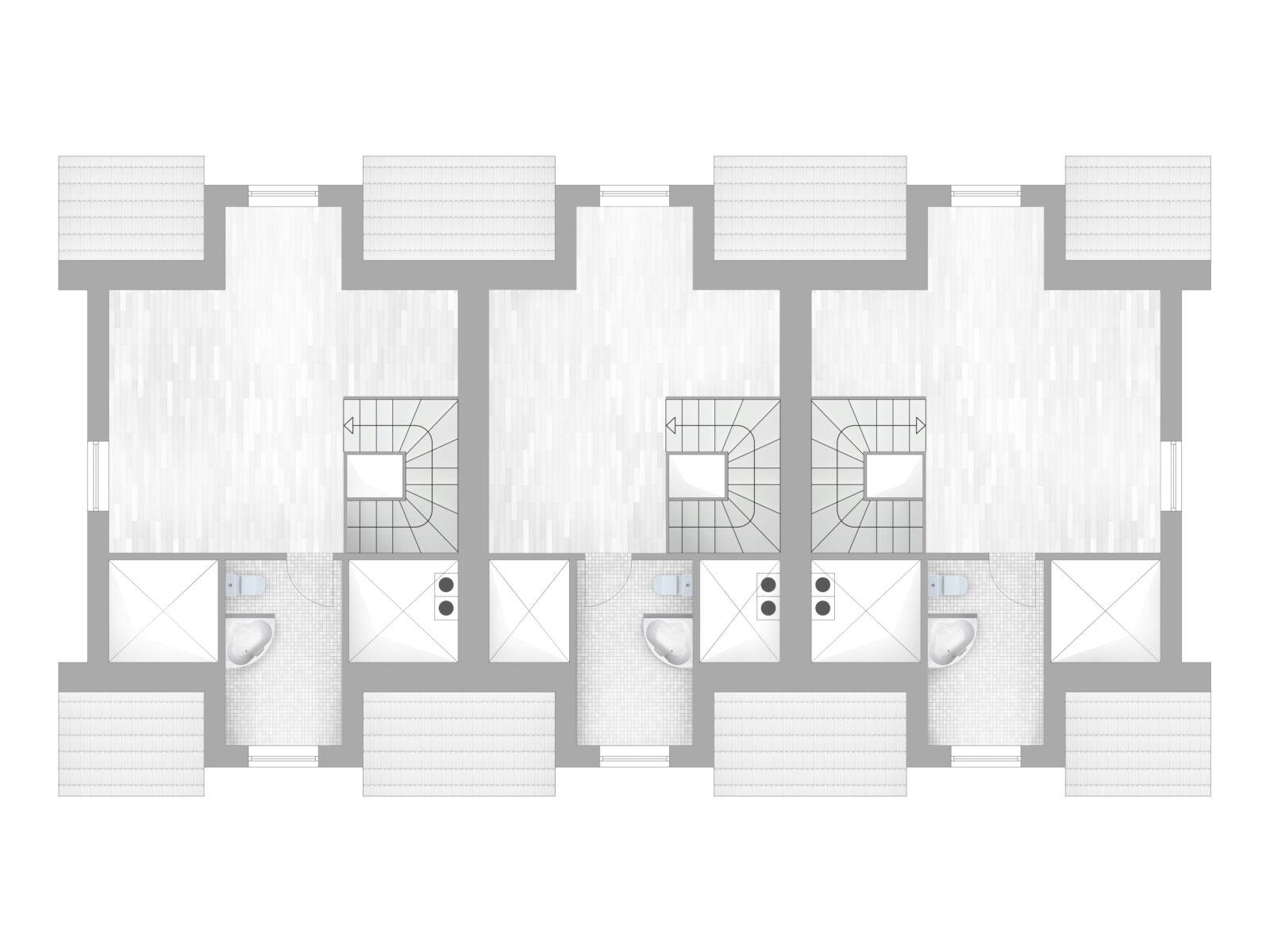 minimalistische Grundriss in graustufen