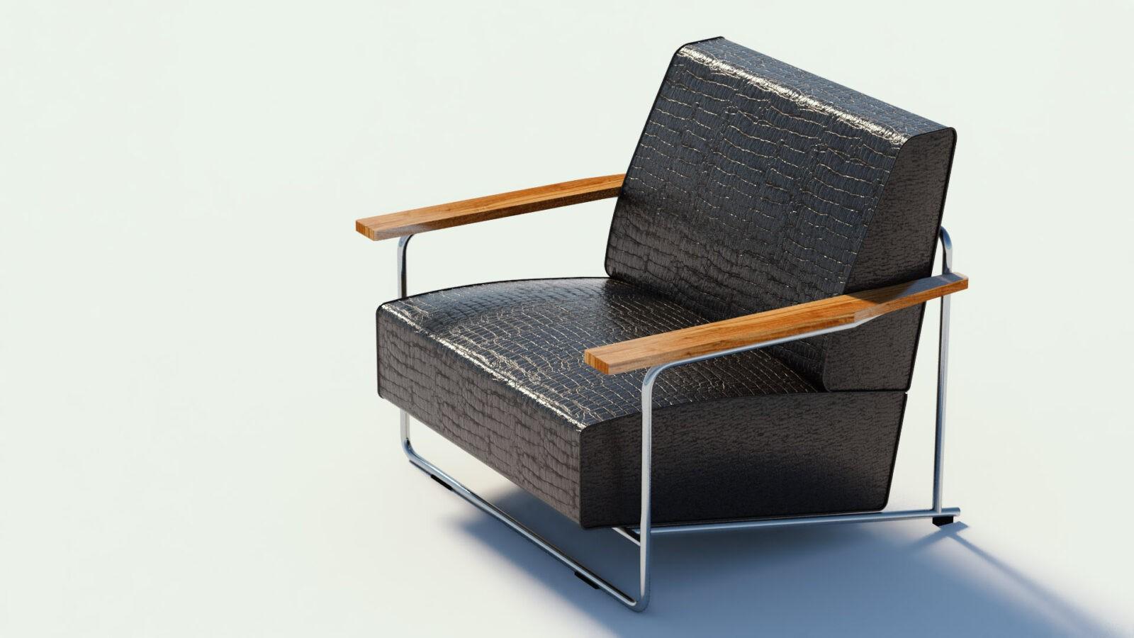 Darstellung von einem schwarzen Lederstuhl mit Holzarmlehnen und Edelstahlgestell in einem Designstudio
